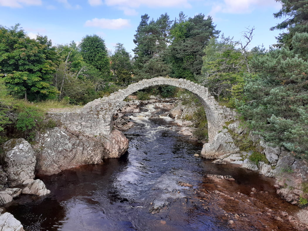 In the centre of the image is an ancient arched packhorse bridge (Carrbridge) that we visit on the Highland and Speyside Distillery Tour. There are a variety of trees all round, in the background. A dark river rushes towards us, between rocky riverbanks on both sides. Through the arch of the bridge, further upstream, the river is tumbling towards us over rapids, though it is calmer and darker in the foreground.