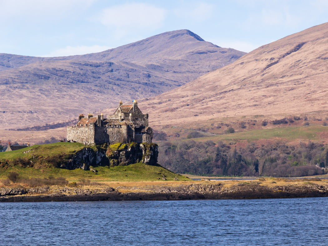 Picture of Duart Castle on the Isle Mull. A typical seaboard stronghold of the Scottish Highlands this was the seat of clan Maclean and dates from the 14th century. Taken on our Isle of Skye and Mull Tour