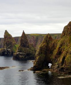 The foreground is ocean. Marching in from the right, and rising diagonally across the shot are a whole line of vertical sea-cliffs, topped and also slightly covered by green grass. Just offshore are two enormous rock stacks (and both are pointed like the spires of a church. A third one is closer to us, and has not yet eroded to be seperate from the mainland. There is, however, a large sea arch at sea-level, that suggests the process is well underway.
