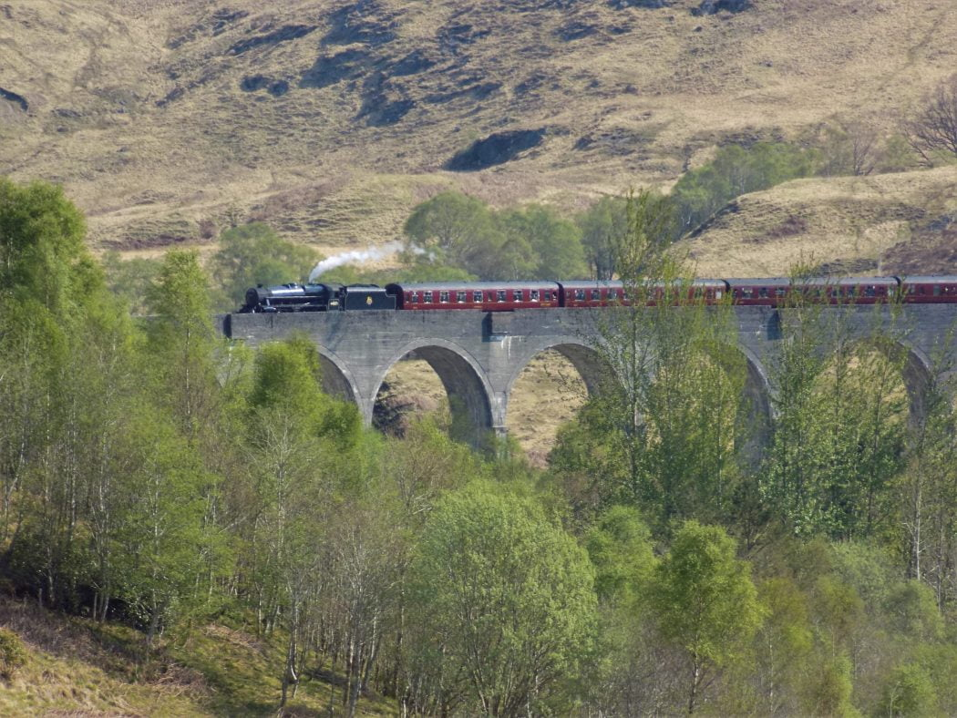The main focus is a 5-arched section of the concrete Glenfinnan Viaduct with the black Harry Potter steam train on it and Highlands behind. There are five carriages in shot behind the engine, but there may be more, out of shot to the right. There are many small deciduous trees in the foreground.