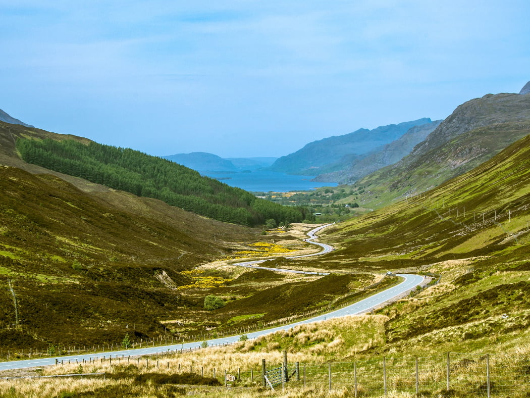 We look down a twisting highland road to Loch Maree on the NC500 - Magical Wester Ross Tour. It is one of the highlights, and in this shot it is nestling at the foot of the glen, a mid-blue, it's long axis running right into the picture, with tall mountains either side. the right hand side of the valley leading to it is bare, and the left hand side has a pine forest.