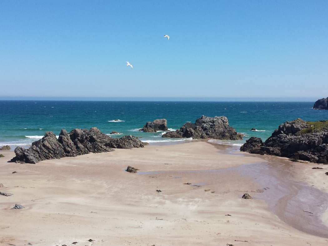 The foreground is a white sand beach contrasting starkly with a black rocky headland to the right, and some black, low but jagged rock stacks emerging from the sand. A limitless blue ocean is the backdrop, quite calm but with the occasional white-top. Above, two seabirds fly in a clear blue sky.