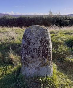 This is a close-up of a rough grave stone on Culloden Moor with the words Clan Cameron chiselled into it, visited on the Clan Cameron Tour from Inverness. The stone is in grass, with bushes behind, and a low and distant hill ridge in the background, under a blue sky.