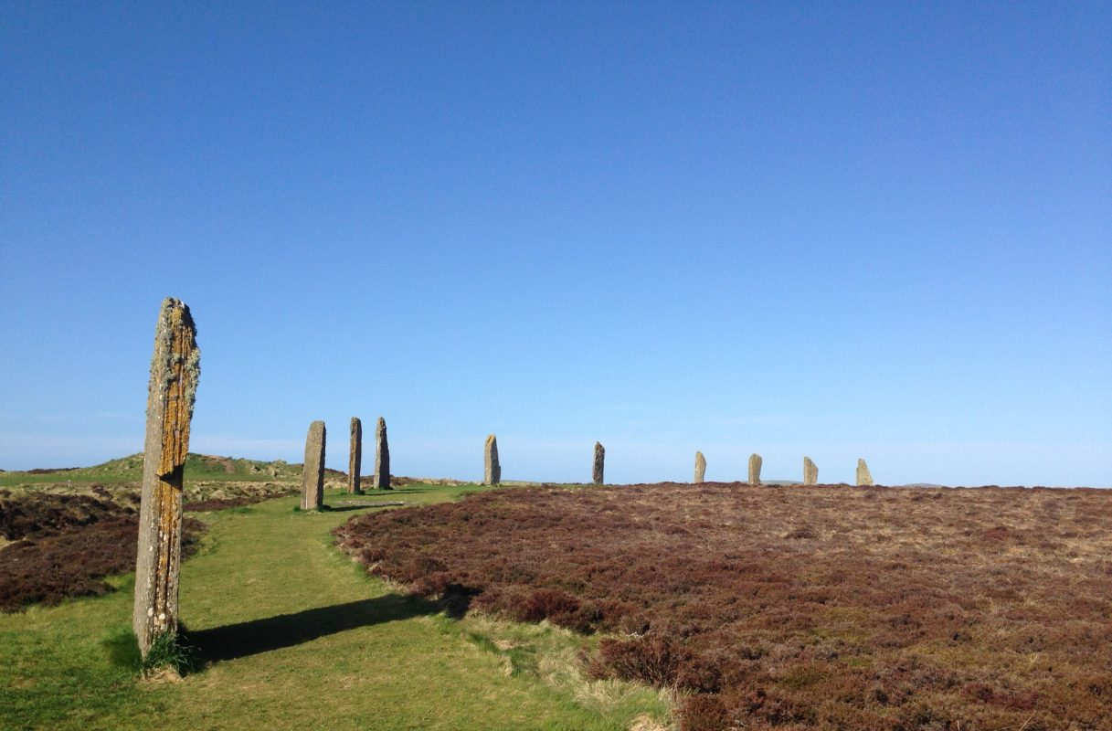Curving line of standing stones on our Orkney Tours from Inverness. The Stones are arising from grass, but otherwise surrounded by heather. The sky above is cloudless blue.