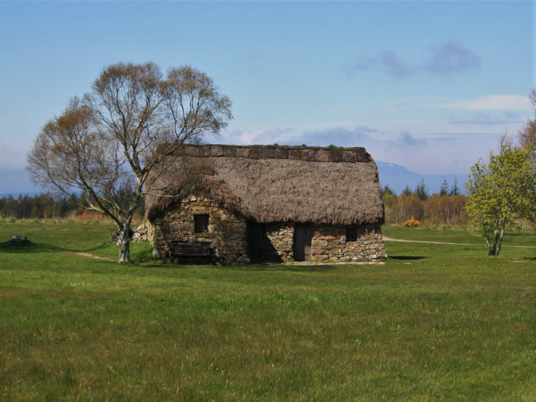 There is grass in the foreground, and most of the image is a stone-built one-storey cottage with a heather thatched roof that we visit on our Multi Day Outlander Tours from Inverness. There is a deciduous tree to the left, and behind the cottage is a mountain in the far distance. On the horizon are more trees, and the sky above is blue.